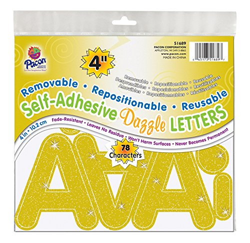 "Pacon 4"" Self-Adhesive Uppercase Letters, 78-Count, Gold Dazzle (51689)"