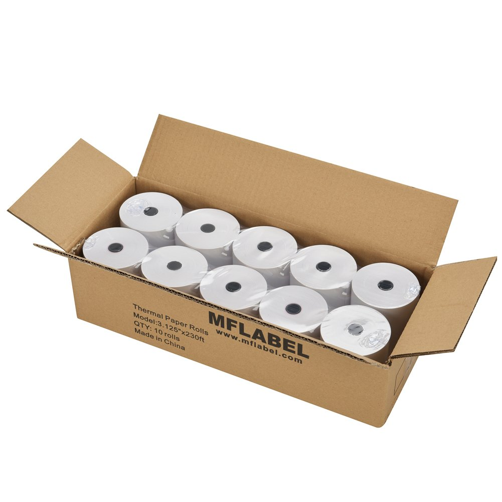 MFLABEL 10 Rolls Thermal Receipt Paper Rolls 3-1/8 x 230ft by MFLABEL