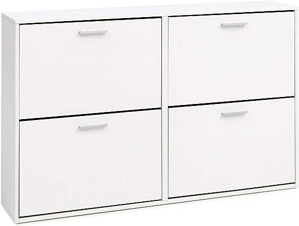 Wohnling WL1.347 Scarpiera con 2 ante ribaltabili colore: Bianco opaco 87 cm legno