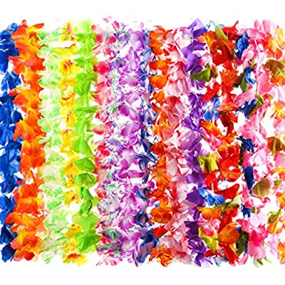 80 Count Hawaiian Flower Lei for Luau Party - Bulk Set of Floral Necklace Leis Vibrant Colors Assortment for Party Favors, Garland Decorations or Ornaments for Any Occasion: Toys & Games