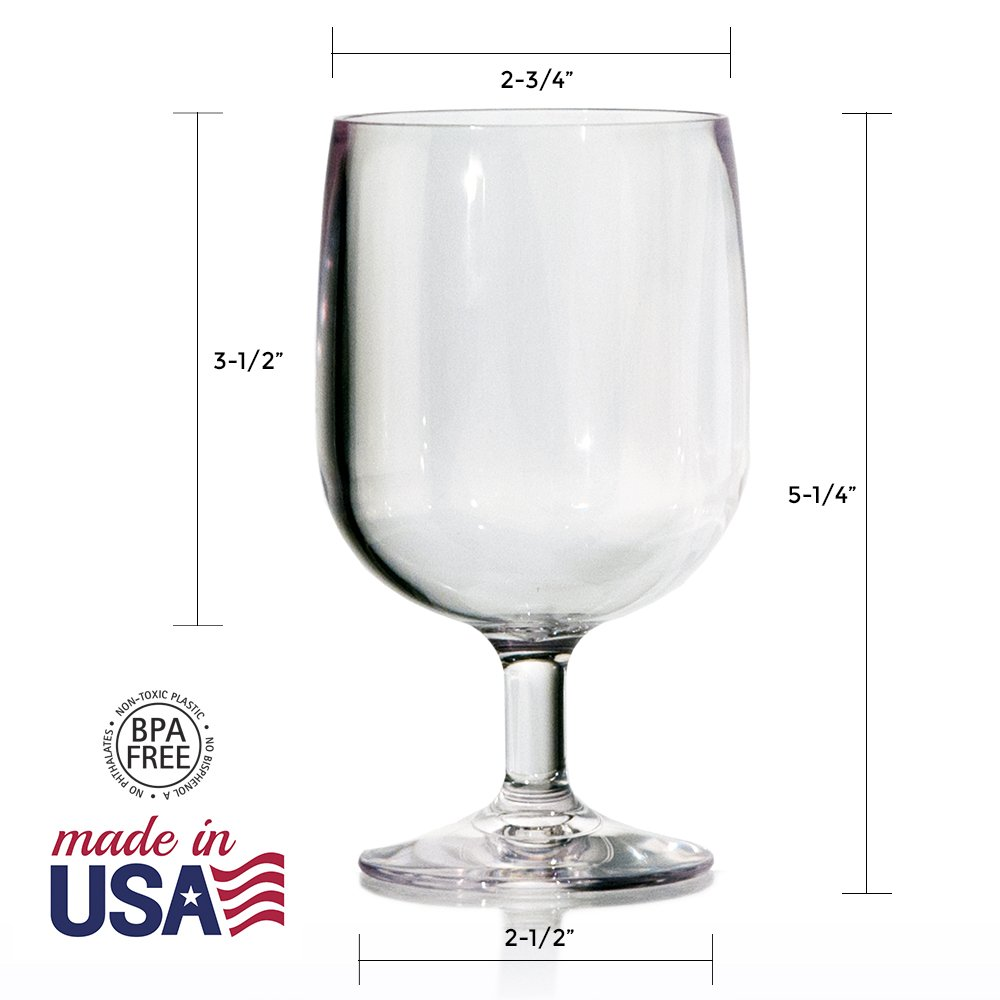 Stackable Premium Quality Plastic 8oz Wine Glass - Set of 8 by US Acrylic (Image #3)