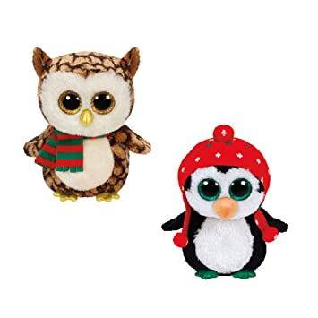 792fd0fbd62 Ty Beanie Boos 2015 Christmas set Freeze the Penguin and Wise the owl by Ty  Beanie