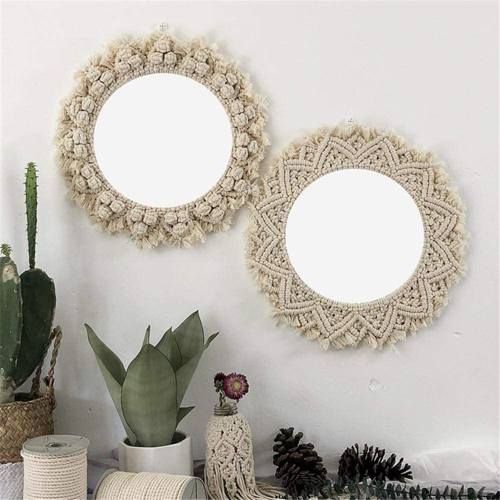 Salle De Bains Cuisine Miroir Suspendu Rond En Corde De Coton Fabriqu/é /À La Main Miroir Rond En Dentelle Pour Le Salon Miroir De D/écoration Murale