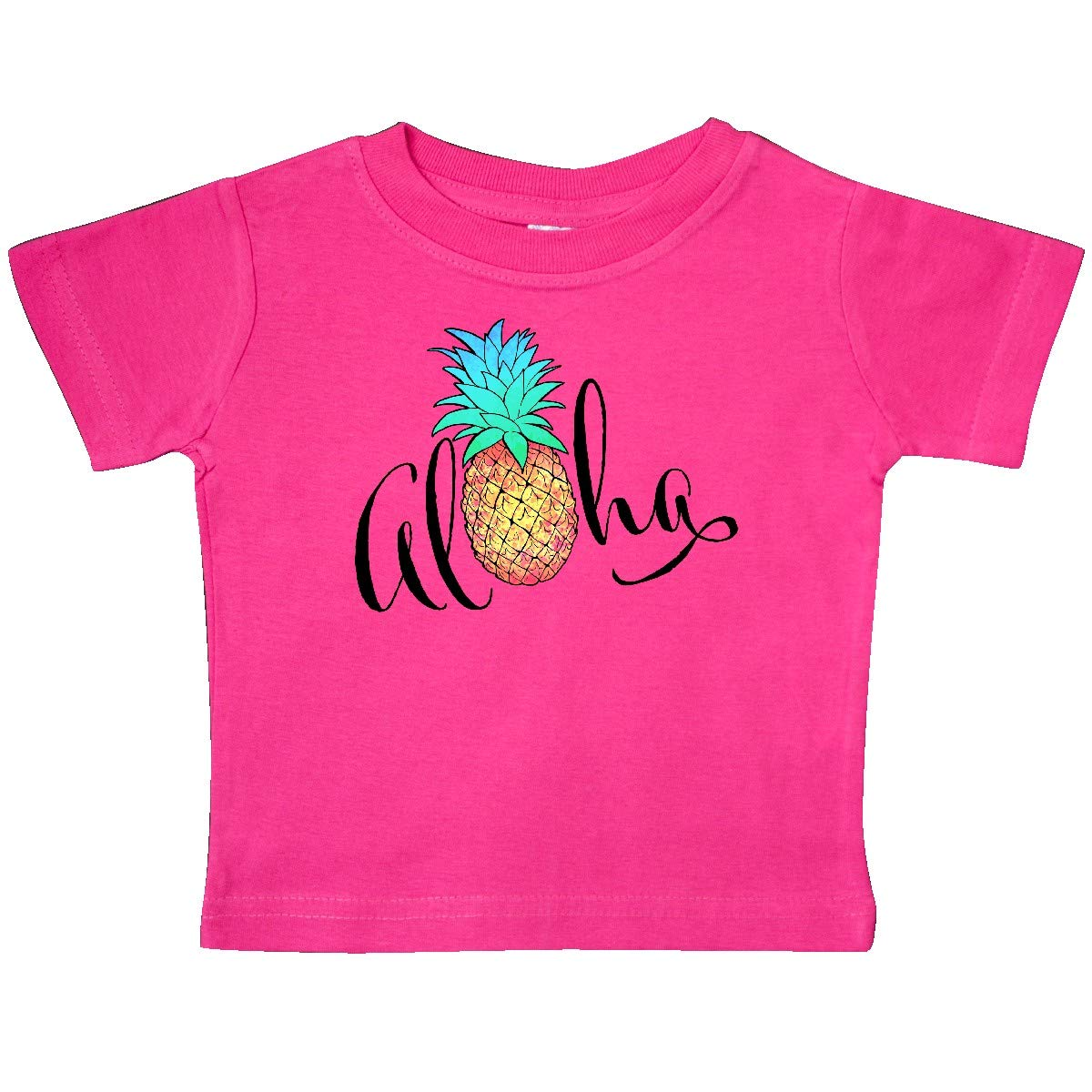 in Cursive with Pineapple Rainbow Colors Baby T-Shirt inktastic Aloha