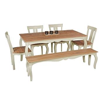 Mesa de Comedor Vintage angori Blanco Maciza 160 x 80 cm | Comedor ...