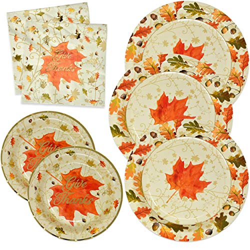 Thanksgiving Paper Plates and Napkins Disposable for 50 Guests includes 50 10″ Dinner Plates 50 7″ Dessert Plates and 100 Luncheon Napkins in Elegant Gold Foil Fall Design for Autumn Tableware Set