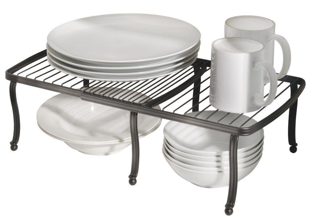 mDesign Expandable Shelf - Free-Standing Kitchen Shelf for Kitchen Cabinets, Countertops, Pantries - Expandable Cabinet Shelf - Bronze MetroDecor 3785MDK