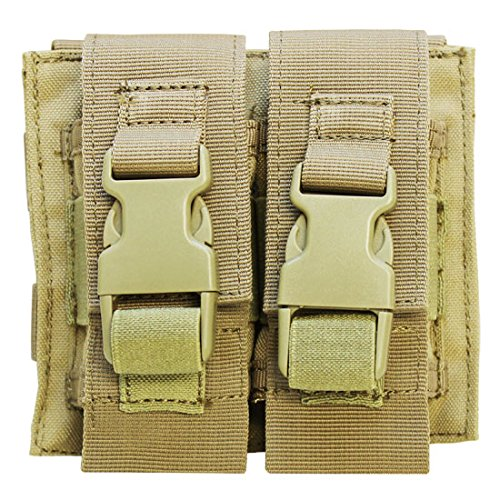 TAN Molle Tactical Double Flash Bang Pouch PALS MAG Bag 2 Grenade Holder