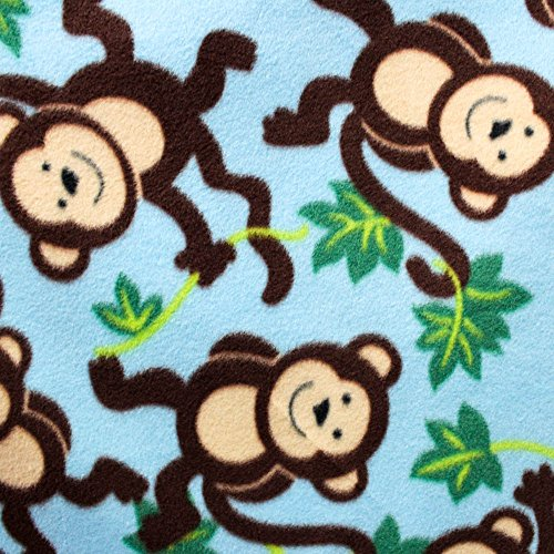 "Sky Blue Monkey Vines Anti Pill Animal Theme Fleece Fabric, 60"" Inches Wide – Sold By The Yard (FB) (Monkey Fleece Fabric)"