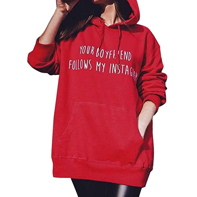 Longra Your Boyfriend Follows My Instagram Impreso, Pullover- Mujer, Rojo Sudaderas con Capucha
