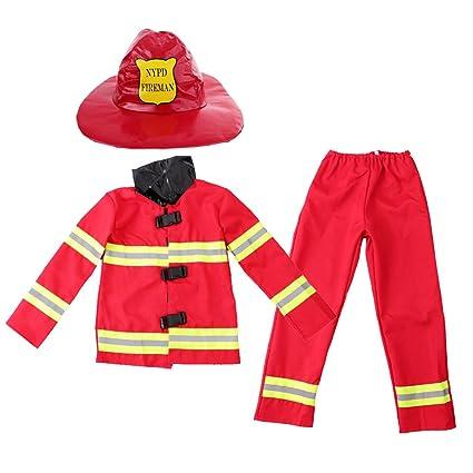 Gazechimp Uniforme de Bombero de Niños con Sombrero Traje de ...