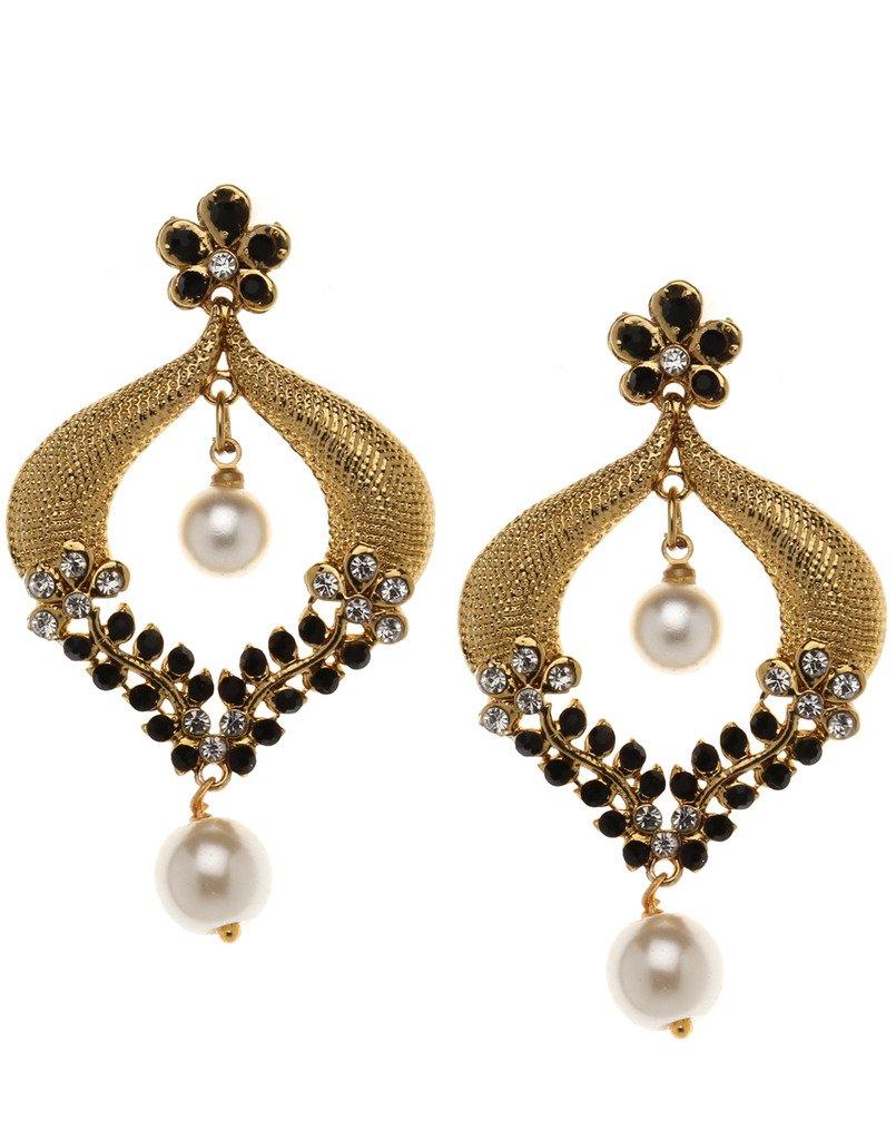 Bindhani Indian Bollywood Style Bridal Wedding Earrings For Women (Black)