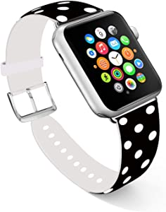 Ecute Compatible with Apple Watch Band 38mm 40mm, Soft Leather Band Strap Compatible with iWatch Series 6/5/4/3/2/1 - White Dots