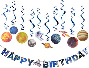 Solar System Hanging Decoration Outer Space Happy Birthday Banner Foil Whirls Hanging Swirls for Kids Birthday Solar System Party Supplies 11Pcs