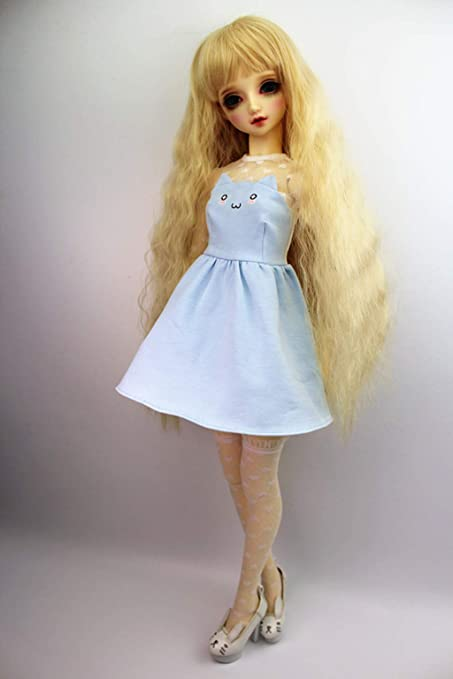 fa303787f6f Image Unavailable. Image not available for. Color  SIMONLIN 1 3 BJD Doll  Clothes Flexible Fashion Cat Ears Knit Lace Dress for SD