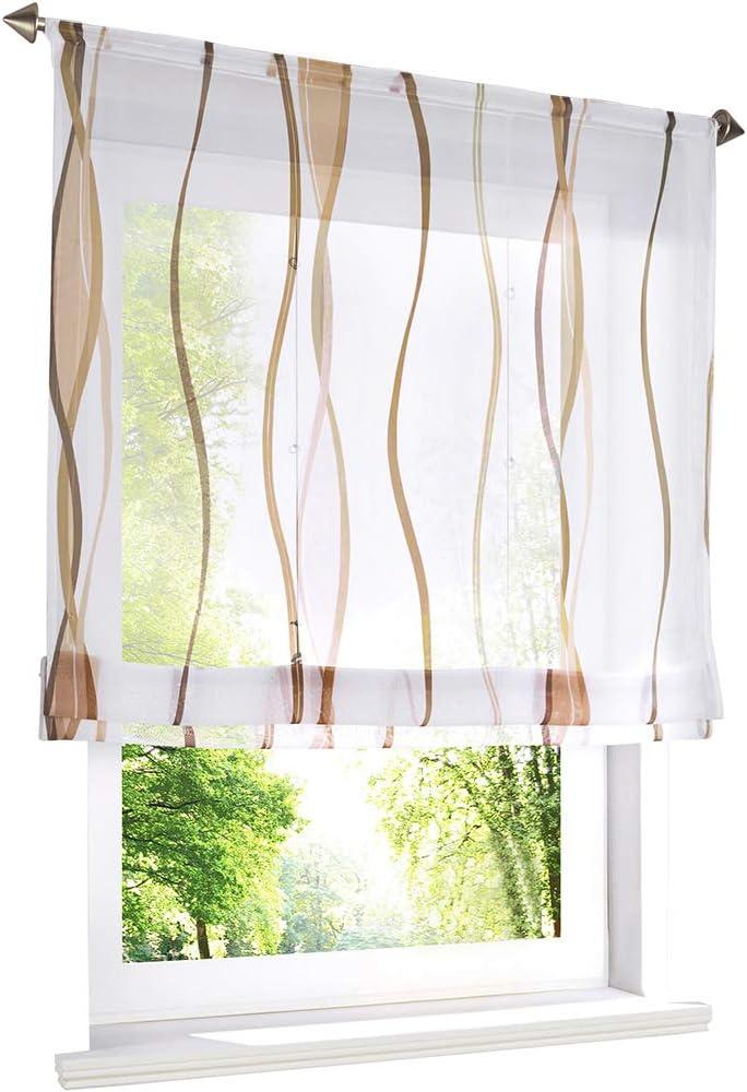 BxH 120x140cm BAILEY JO Tessuto tenda a pacchetto trasparente in voile con fantasia a onde. Arancione con coulisse.