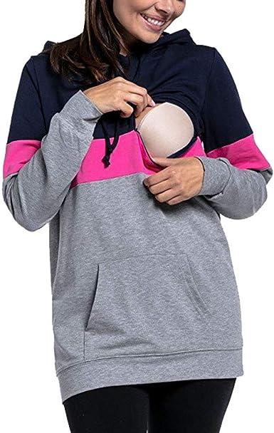 Mujeres Maternidad Enfermer/ía Zip Manga Larga Casual Camisa Lactancia Tops Su/éter De Enfermer/ía Su/éter De Maternidad