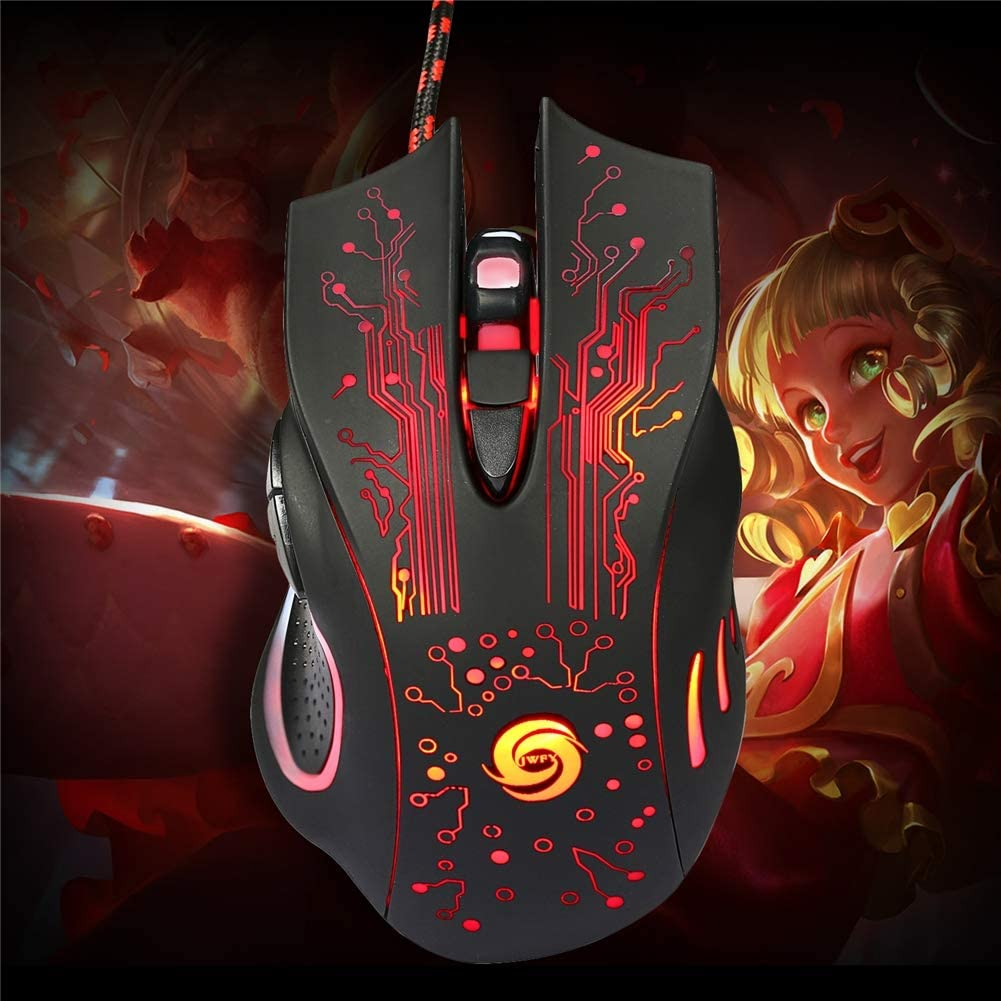 Ergonomic USB Wired Mouse,with 5500 DPI,LED RGB Lights and 6 Buttons for Laptop,Mac QLPP Gaming Mouse,Wired Optical Mouse