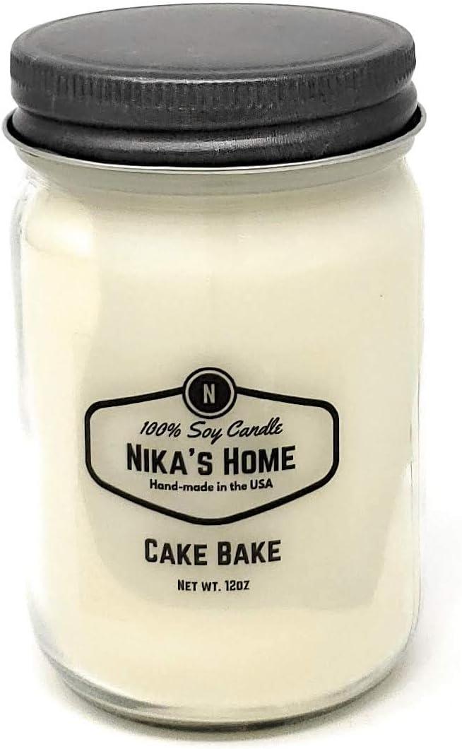 Nika's Home Cake Bake 12oz Mason Soy Candle