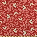 44'' Wide Moda Giddy Hearts Leaves Red Hots Fabric By The Yard