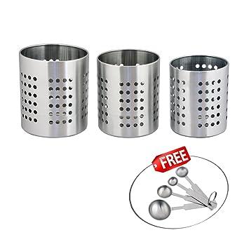 Kosma 3 Pc Set | Porta cubiertos cubiertos de acero inoxidable Caddy/ cubertería | Utensilio