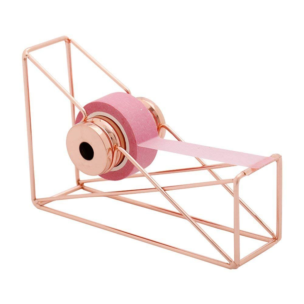 Desktop Tape Dispenser Metal Wire Rose Gold Color Scrotch Tape Holder Cutter for Brighten up Your Desk and Office,Lightweight and Novelty Design