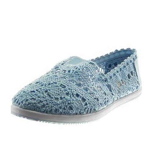 Angkorly - Zapatillas Moda Alpargatas Slip-on Mujer Ganchillo Perforado elástico tacón Plano 1 CM: Amazon.es: Zapatos y complementos