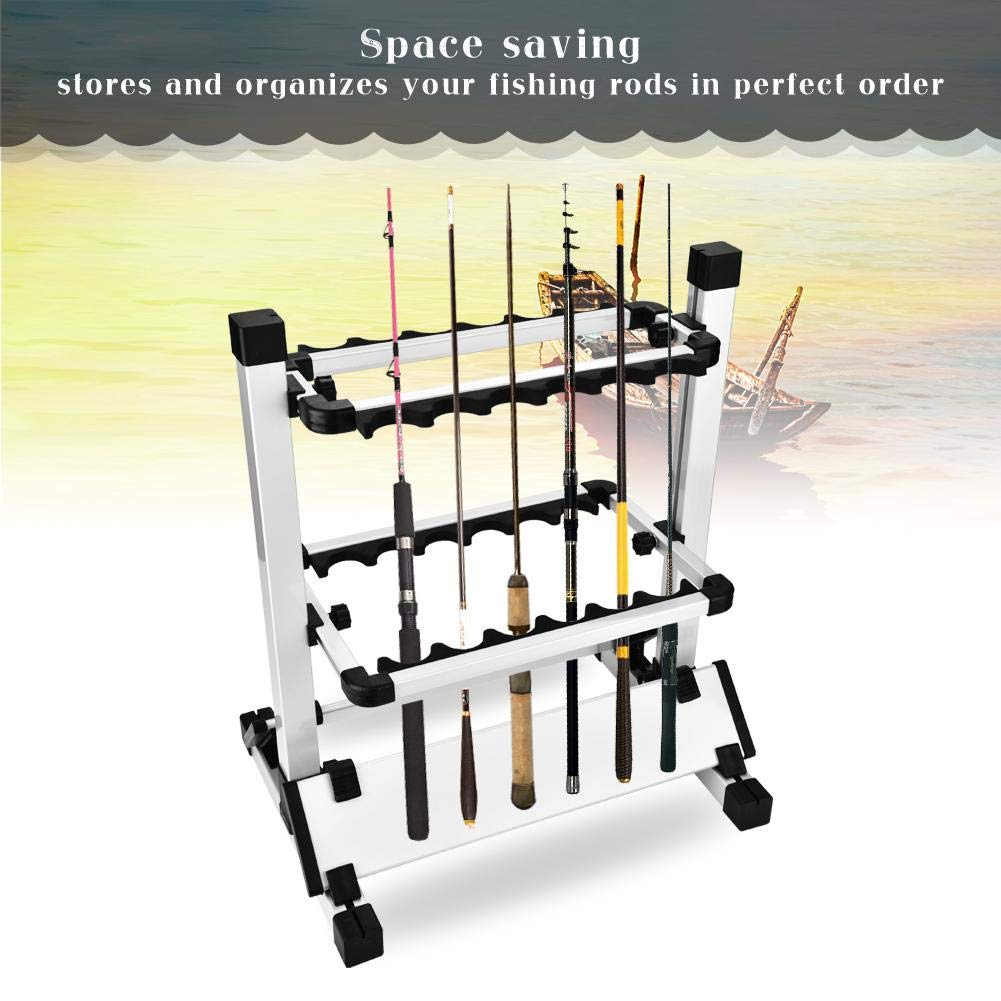Portable Fishing Pole Organizer Stand Hold Up to 12 Rods AYMARIO Fishing Rods Holder Storage Rack