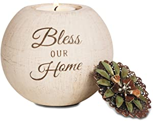 Pavilion Gift Company 19027 Bless Our Home Terra Cotta Candle Holder, 4-Inch