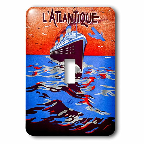 3dRose Scenes from the Past Ephemera - Vintage Art Deco Travel L Atlantique Pochoir 1930s Transatlantic Cruise - Light Switch Covers - single toggle switch (lsp_269813_1) by 3dRose