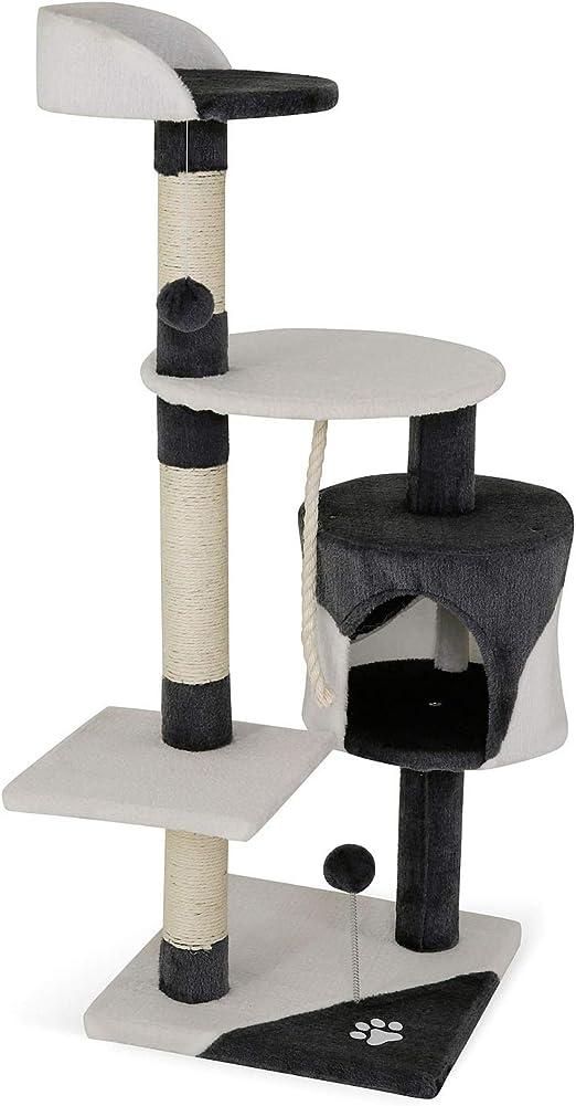 Oferta amazon: Árbol rascador para gatos, 112 cm (gris / blanco)