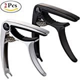 Guitar Capo, Lookka Black and Silver Capo for Classical Electric Acoustic Guitar (2 Pack)