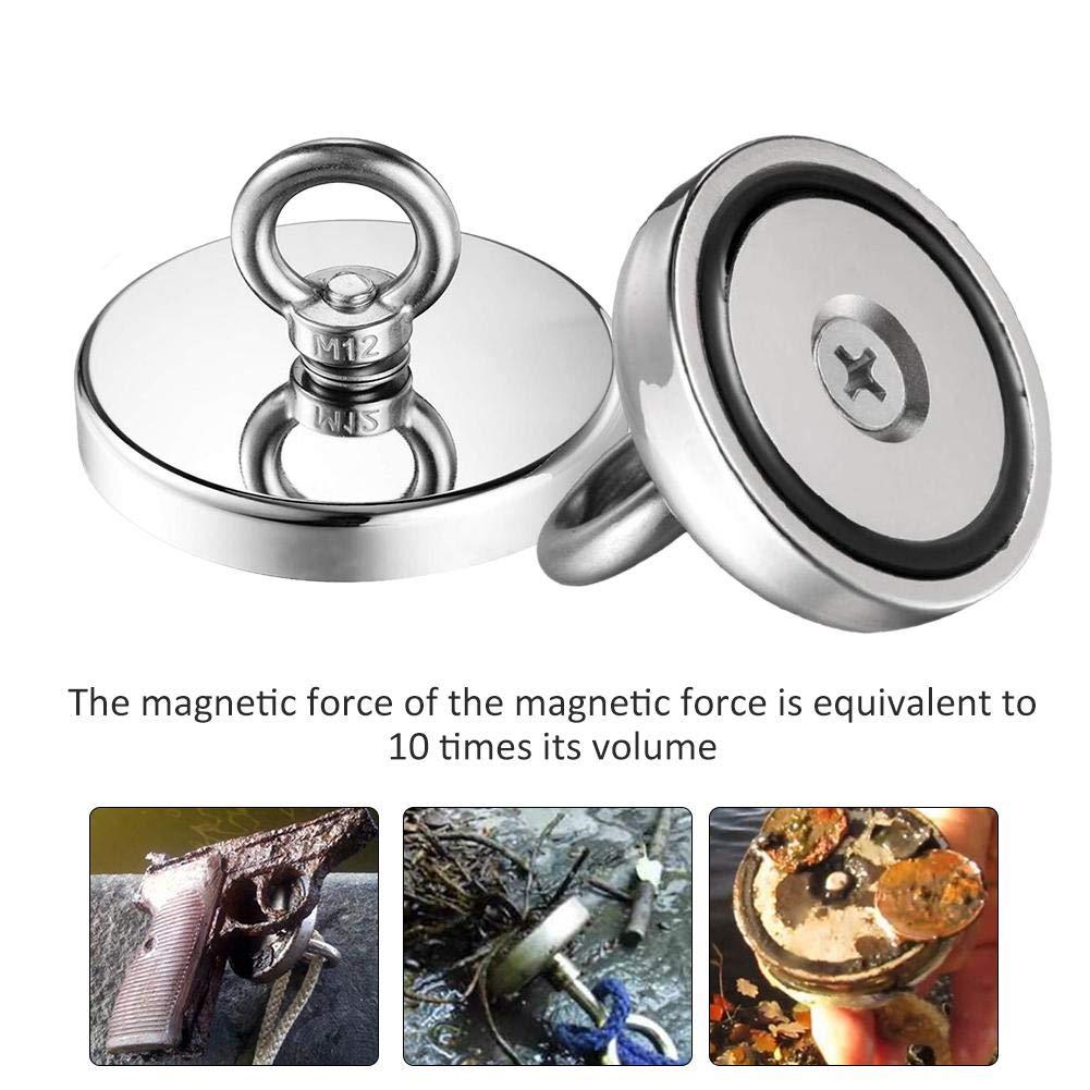 Durchmesser 60-120mm Successful Diam/ètre 60mm Super Starker Magnet zum Angeln mit /Ösenring kombinierte Zugkraft Neodym-Magnet Falliback Magnetischer Ring