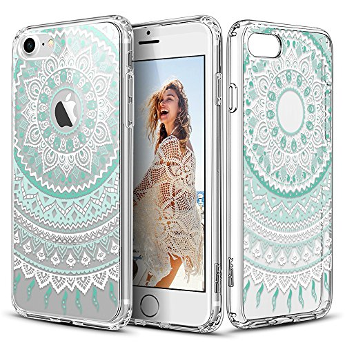 ESR Floral Designer Case with Soft TPU Bumper for iPhone 7 4.7'-Mint...