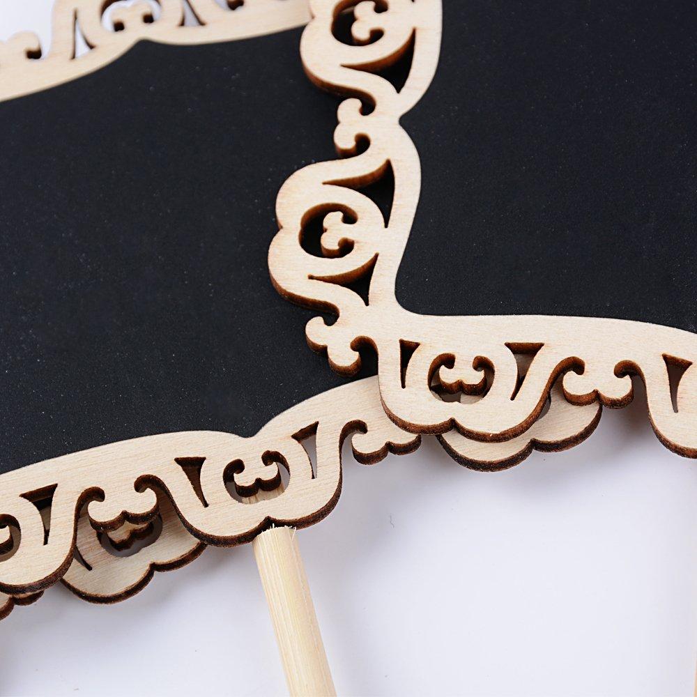 BETESSIN 20pcs Mini Pizarras Pizarras Decorativas Pequeñas con Soporte Tablero de Mensajes Etiquetas Tarjetas Números de Mesa de Boda Restaurante ...