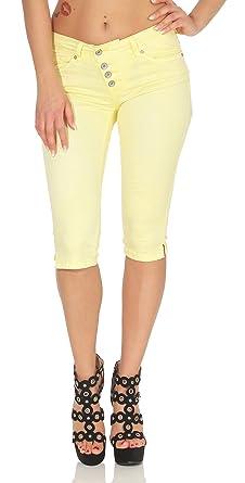 Buena Vista Damen Sommer Jeans Malibu Capri Stretch Twill Kurze Hose Knopfleiste