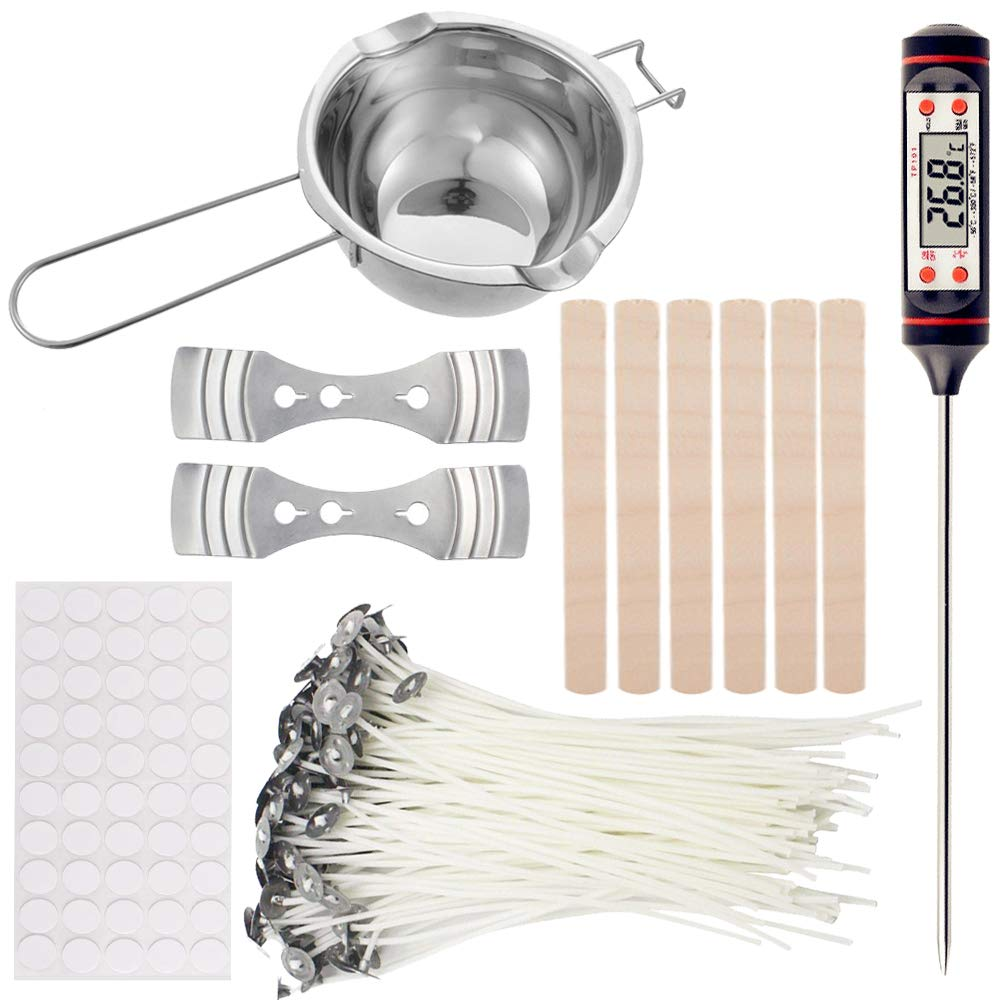 EWONICE Candle Making Kit Includes 1Pc Candle Melting Pot,50Pack Candle Wicks, 50Pack Wick Stickers, 2Pack 3-Hole Candle Wicks Holder,1Pc Thermometer and 5Pack Stirring Sticks
