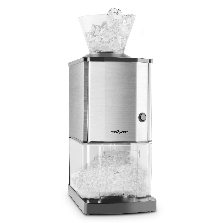 oneConcept Icebreaker • Ice Crusher • glace pilée • machine à piler • 15 kg/h • 3, 5 l (1, 75 kg) • entonnoir • interrupteur de protection • pieds ventouses • compact • nettoyage facile • inox • argent