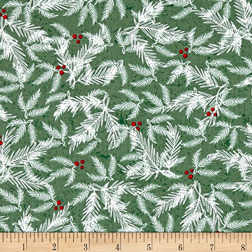HENRY GLASS & CO. Holiday Traditions Branches Green Fabric By The Yard (Fabric Cotton Holidays Quilt)