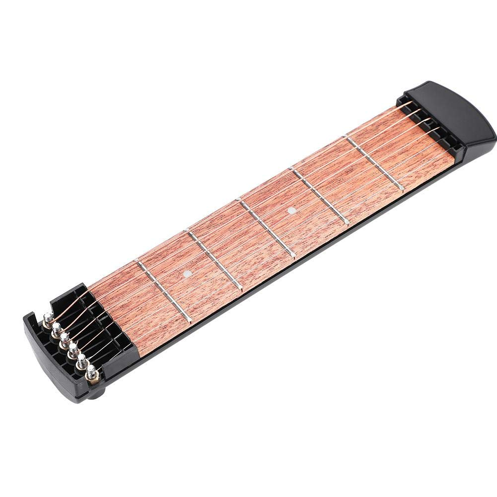 Pocket Guitar Practice Neck Portable 6 Fret Guitar Mahogany Fingerboard Chord and Scales Exercise Tool for Beginner Practice Training