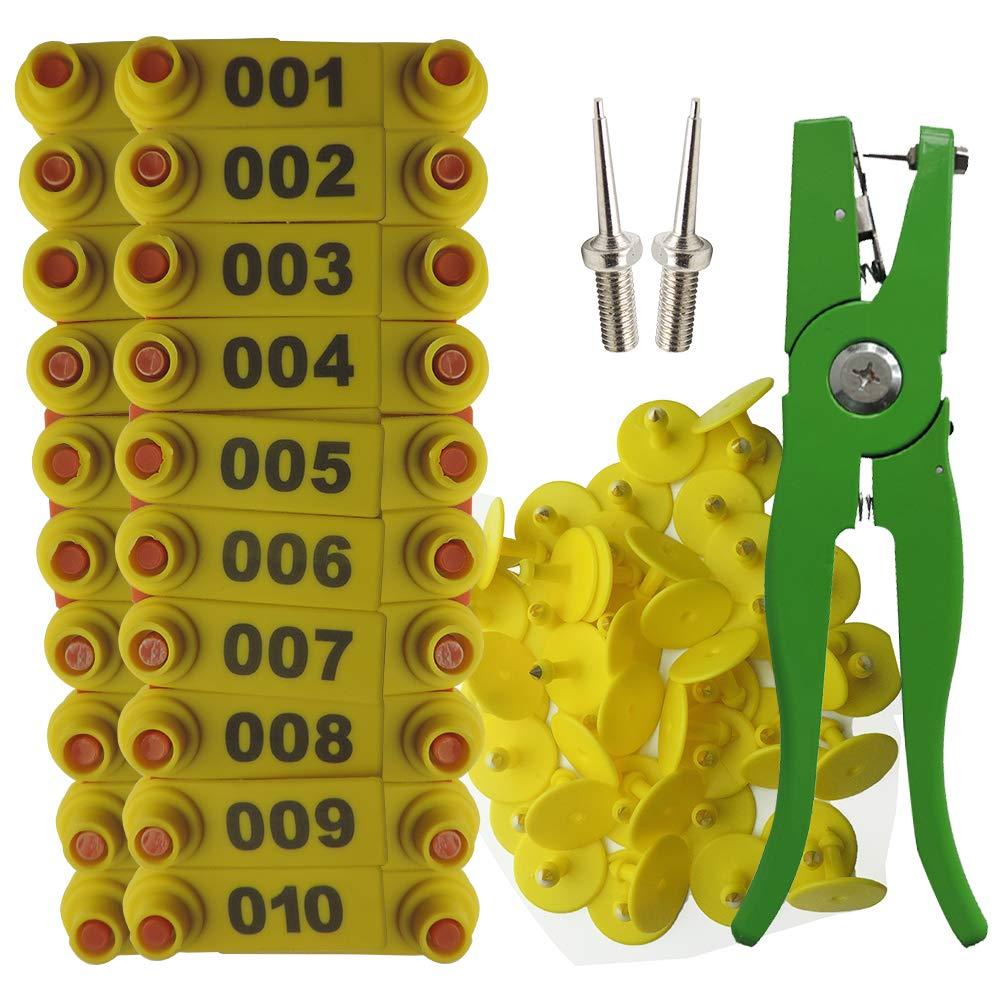 Lucky Farm 001-100 Sheep Ear Tags with Plier Ear Tag Needle Pins (Yellow) by Lucky Farm