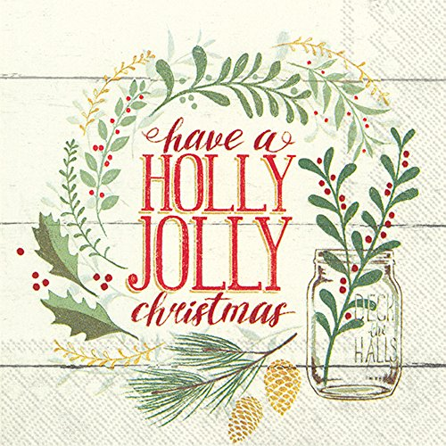 "Boston International C794400 IHR Cocktail Beverage Paper Napkins, 5"" X 5"", Holly Jolly Christmas"