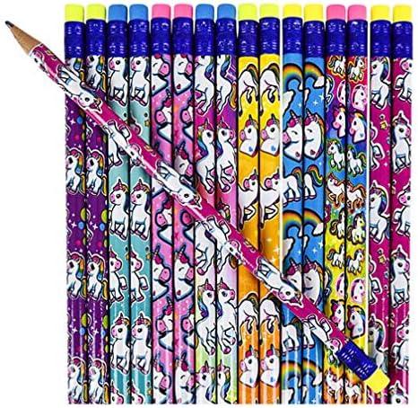 ユニコーン パーティーの記念品/サプライ 男の子と女の子用 | 12歳の子供用誕生日パック | 鉛筆、スタンプ、ステッカー、メモ帳 | ノベルティおもちゃアイテム レインボーテーマ