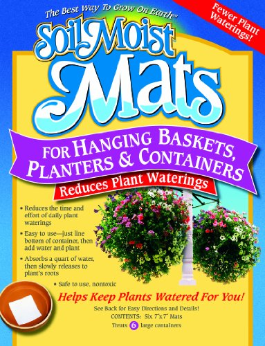 Soil Moist Mats For Hanging Baskets Planters and Containers 6pc Pack ()