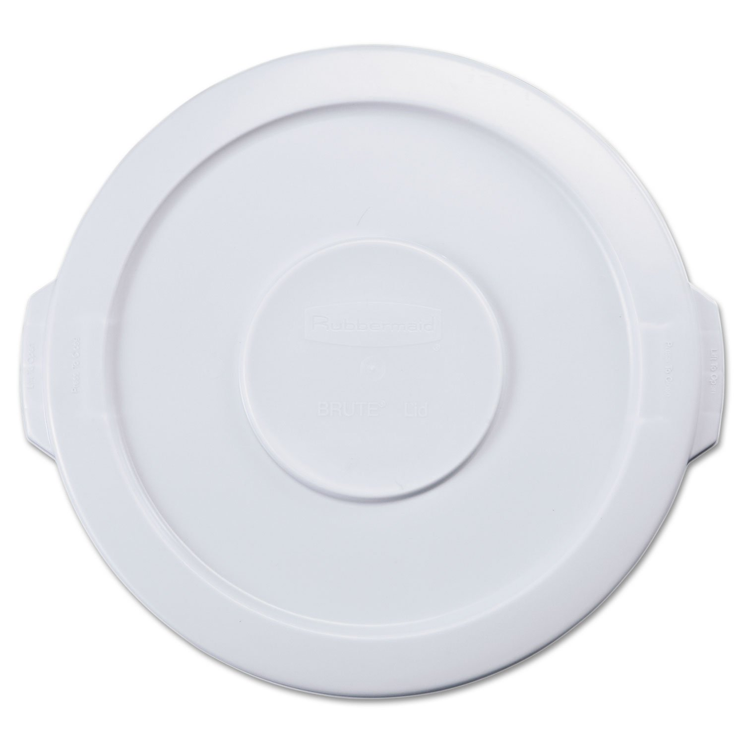 Rubbermaid 2609WHI Flat Top Lid for 10-Gallon Round Brute Containers, 16'' dia, White