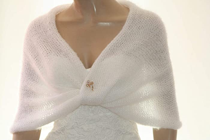 277a75acf9 White Mohair Shrug for Women, Bridesmaid Cover Up, Knitted Shawl ...