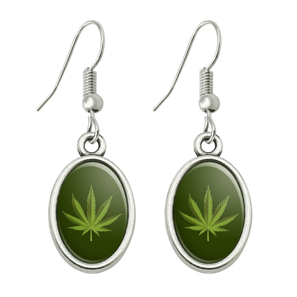 GRAPHICS & MORE Marijuana Leaf Design Cannabis Pot Novelty Dangling Drop Oval Charm Earrings