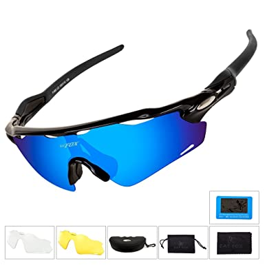 143aef0732 BATFOX Polarized Cycling Glasses Sports Sunglasses with 3 Interchangeable  Lenses for Men Women Youth Running Cycling