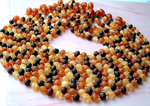 Lot of 10 RAW Natural Unpolished Baroque Baltic Amber Baby Teething Necklace Safety Knotted by Ambermilana by Ambermilana   B015RW0MBW