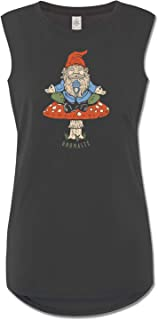 product image for Soul Flower Women's Organic Cotton Gnomaste Gnome Muscle Tank Top, Black Long Graphic Yoga Top, Sleeveless Ladies Shirt